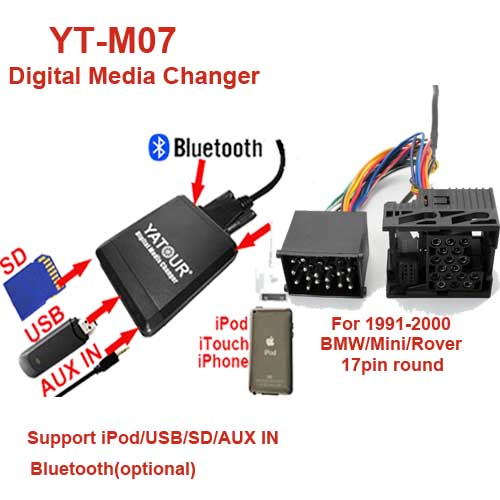 YT-M07-BMW1: YATOUR YT-M07 for BMW/Mini/Rover 17pin round_Guangzhou