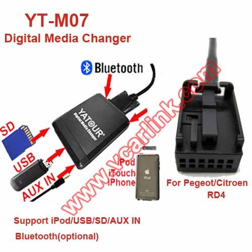 YT-M07-RD4: YATOUR digital music interfaces for 05-11 Peugeot